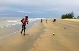 football on the beach at Zalala